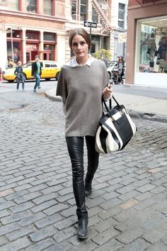 Olivia Palermo Photo - Olivia Palermo in Leather Pants