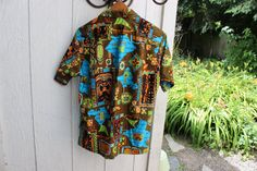 Barefoot in Paradise Mens Hawaiian Cabana Cotton Shirt size Medium VINTAGE 1960s by Plantdreaming