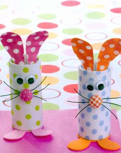 DIY Bunny -roll up lotto tickets to put into the bunny roll - for easter basket. Make 3 bunnies