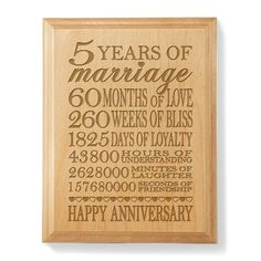 Our 5th Anniversary Wooden Plaque by Kate Posh   5th Wedding Anniversary Gift Ideas for Wife