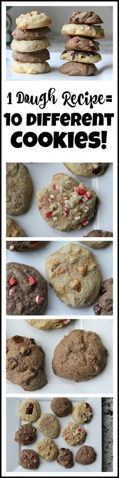 One Dough Recipe = 10 Different Cookies! All you need is this one recipe to whip up all of your Christmas cookies!