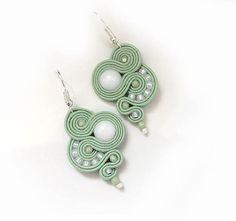 Small Mint earrings Soutache gift for women pastel by sutaszula
