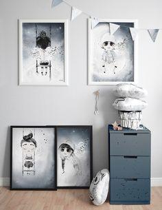 Anulaki - winged land prints, kids prints, plakaty dla dzieci, kids room styling, kids room decor, child print, winged character rint, wings for kids, blue kids room, navyblue kids decor, navy blue childroom