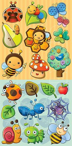 Kawaii insect cartoons - tree, mushroom, flowers, leaves, too. Drawing For Kids, Art For Kids, Crafts For Kids, Animal Drawings, Art Drawings, Cartoon Trees, Bug Cartoon, Cartoon Flowers, Bugs And Insects