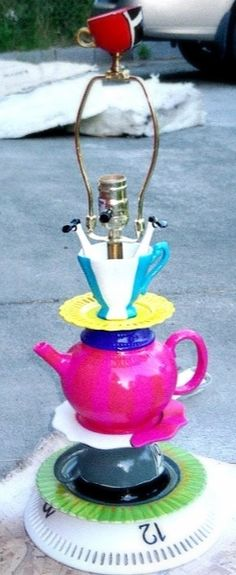 Alice in Wonderland painted lamp