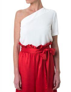 Top sencillo blanco o rojo Carmen de Double Ikkat