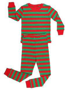 2bd0d46e38 Elowel Striped 2 Piece Pajama Set Red   Green Size 7 Machine wash warm  inside out Pajamas are designed to fit snug for child s safety Tagless  Label to help ...