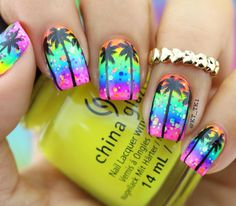This Mani Monday, we're all in for neon! Kt_tk1 used China Glaze and ORLY shades for this fun-in-the-sun nail art.