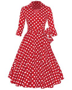 Vintage 3 4 Sleeve Bowknot Belted Polka Dot Printed Ball Gown Dress For  Women Abiti f8a24bd9256