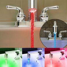 Temperature Sensor 3 Color Water Tap Faucet RGB Glow Shower Colorful LED Light