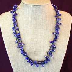 Fair Trade Soft Blue Beaded Necklace - India - This comfortable necklace is fabulous for an evening out or a casual lunch. Handmade by the artisans of Tara Projects.