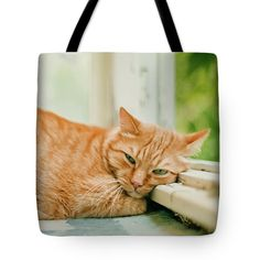Cat Tote Bag featuring the photograph Hard Life Of A Ginger Cat by Oksana Ariskina on @pixels and @fineartamerica.  Ginger cat sleeping on a sunny day time on a balcony, domestic cat. The cat is tired in the morning :-) Available as poster, greeting card, phone case, throw pillow, framed fine art print, metal, acrylic or canvas print with my fine art photography online: www.oksana-ariskina.pixels.com #OksanaAriskina