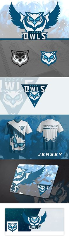 Concept logo for team Lucky Owls (League Of Legends) plus some visual identity concepts.
