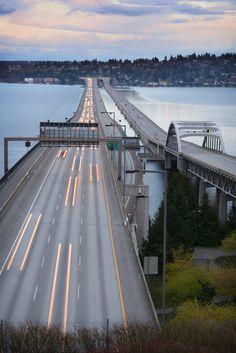 I-90 Bridge from Seattle to Mercer Island at dusk. Aka the floating bridge