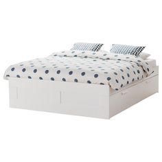 BRIMNES armazón de cama Queen + viga + almacenaje