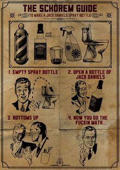 Schorem's guide to a Jack Daniels spraybotttle.