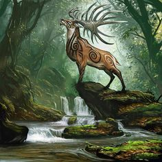 Cernunnos, Lord of Animals Mythical Creatures Art, Mythological Creatures, Magical Creatures, Forest Creatures, Fantasy Kunst, Anime Fantasy, Wow Art, Celtic Art, Celtic Fantasy Art