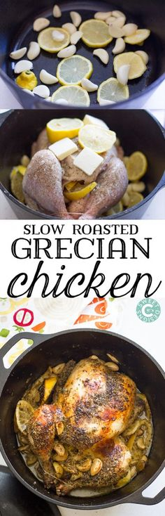 This simple, easy Dutch Oven Grecian Chicken uses only five ingredients and requires 5 minutes of prep for the most juicy, flavorful whole roasted chicken! (Five Ingredients Ovens) Dutch Oven Cooking, Dutch Oven Recipes, Dutch Oven Meals, Slow Cooker Recipes, Cooking Recipes, Paleo Recipes, Meat Recipes, Paleo Meals, Recipies