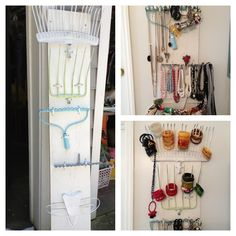 Necklace and bracelet display Vintage yard tools spray painted and hung on board