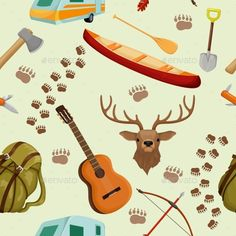 Camping Seamless Pattern Vector illustration EPS