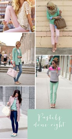 Pretty pastel-colored clothes.