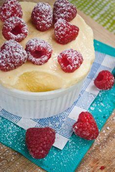 FROZEN lemon souffle w/raspberries! Yes, please! Per-fect for summer! (from @Kelly Brisson)