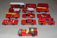 Vintage Miniature Die-Cast Toy Fire Trucks and Equipment, Lesney, Matchbox, Hot Wheels.