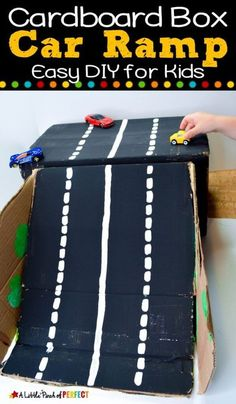 How to Make a Cardboard Box Car Ramp: It's an easy recycled DIY project for kids to play with. This fun activity is perfect for rainy days! Also, this activity is perfect for little boys! Easy crafts for kids #kidsactivity #toycars #cardboardbox #craft #diy