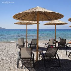Theros beach bar in beach near village, - Beach Bars, Beaches, Greece, Patio, Outdoor Decor, Home Decor, Yard, Decoration Home