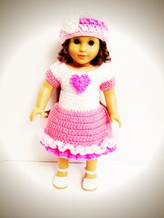 Hand Crocheted SweetTart Valentine's Dress for American Girl Dolls