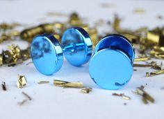 Stud Earrings – Metallic Blue Button Small Stud Earrings Men Women – a unique product by mailtown on DaWanda