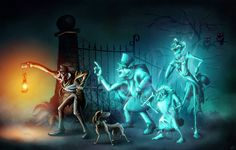 our beloved hitchhiking ghosts along with the caretaker and his faithful companion. Haunted Mansion Disney, Haunted Mansion Halloween, Disney Halloween, Halloween Ideas, Disney Fan Art, Disney Love, Disney Magic, Disney Stuff, Disney Rides