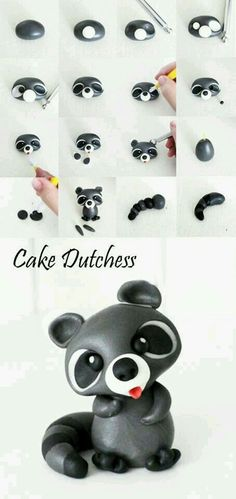 Raccoon Pictorial Tutorial for gum paste - Cake Dutchess - For all your cake… Polymer Clay Figures, Polymer Clay Animals, Fimo Clay, Polymer Clay Charms, Polymer Clay Creations, Polymer Clay Tutorials, Decorating Supplies, Cake Decorating Tutorials, Cake Dutchess