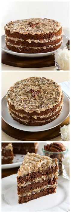 American Cakes: German Chocolate Cake - A traditional recipe and history for German Chocolate Cake from food historian Gil Marks. Chocolate cake layered with coconut-pecan frosting.  via @toriavey