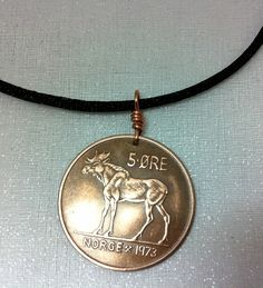 $10.95 Coin Jewelry Vintage Norse MOOSE COIN NECKLACE - Viking, Norway, Elk (with rabbit earrings) Funky Jewelry, Coin Jewelry, Coin Necklace, Quartz Necklace, Vintage Jewelry, Pendant Necklace, Copper Penny, Ball Chain, Leather Cord