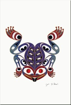 Joe Wilson Coast Salish Art Card Design The Frog Inuit Kunst, Arte Inuit, Arte Haida, Haida Art, Inuit Art, Native American Design, Native Design, American Indian Art, Arte Tribal
