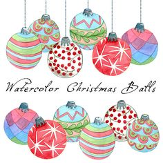 Christmas Clipart Christmas Balls Watercolor by SwiejkoForPrint, $7.00