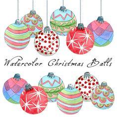 Christmas Clipart Christmas Balls Watercolor by SwiejkoForPrint, $7.00