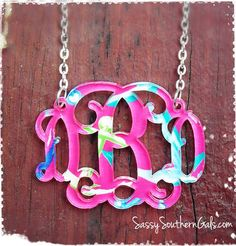 Monogrammed Necklace, Acrylic Monogrammed Necklace, Lilly Pulitzer inspired patterns, Lilly Pulitzer Monogram Necklace  on Etsy, $32.00