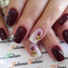 "986 curtidas, 6 comentários - ❤️Juliana Tedesco ❤️ (@juuhtedescoo) no Instagram: ""#nails #unhas #unhastop"" Rose Nails, Flower Nails, Shellac Nails, Nail Manicure, Hair And Nails, My Nails, Nails Only, Pretty Nail Art, Elegant Nails"