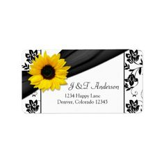 Sunflower Damask Wedding Return Address Label Sunflower black and white damask floral wedding return address labels to be used for your wedding invitations and reply cards, or just use it as a pretty general return address lab...