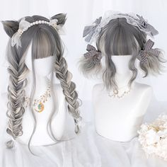 Lolita sisters mixed color wig cat ears – My CMS Kawaii Hairstyles, Pretty Hairstyles, Wig Hairstyles, Casual Hairstyles, Medium Hairstyles, Latest Hairstyles, Anime Wigs, Anime Hair, Cosplay Hair