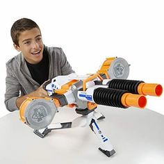 Nerf N-Strike Elite Rhino-Fire Blaster Rhino Fire, Unique Gifts For Boys, Double Barrel, Best Kids Toys, Star Wars Gifts, Toys R Us, Christmas Toys, Building Toys, Nerf