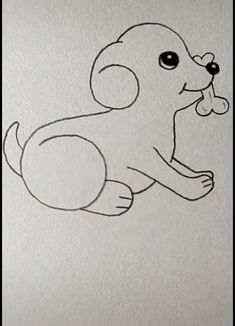 Dog Drawing Easy - More Ideas at our Easy Drawings For Kids, Girl Drawing Sketches, Cute Little Drawings, Art Drawings Sketches Simple, Bird Drawings, Pencil Art Drawings, Cartoon Drawings, Cute Drawings, Easy Animal Drawings