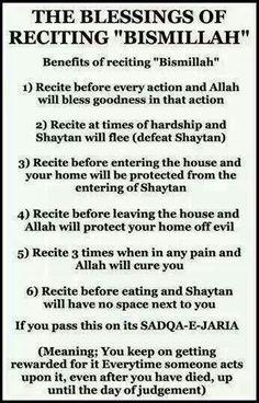 Benefits of saying Bismillah ♥