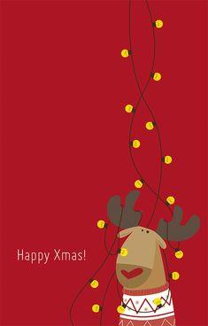 Happy Xmas! by Chiara Tovazzi.   #holidays #christmas #xmas #animation #gif #animals #reindeer #ChiaraTovazzi