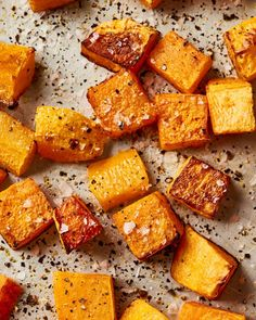 How to roast butternut squashes. This simple guide will ensure that your butternut squash comes out perfectly every single time you cook it. This hearty winter staple is both healthy and filling which means it is a weeknight dinner winner. Baby Food Recipes, Gourmet Recipes, Cooking Recipes, Zucchini Zoodles, Oven Roasted Butternut Squash, Sweet Potato And Butternut Squash Recipe, Healthy Butternut Squash Recipes, Baked Squash, Vegetable Dishes