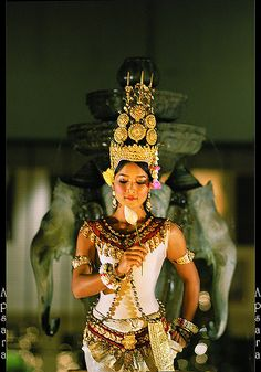 Cambodian apsara dancer. In the Hindu Mahabharata, the apsaras were created from The Churning Sea Of Milk process, when the mortal gods and demons combined their mights to churn the sea water to milk, milk to amrita (elixir of immortality) in order to attain immortality. The Apsaras dance was traditionally performed only for the Khmer royal court and temples as offering and communication to the gods.