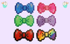 Perler Bead Hair Clip Bow Tie Keychain Or by MerkittenCrafts
