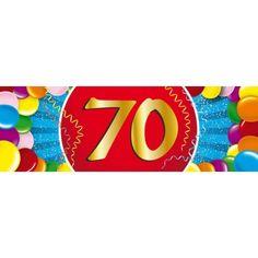 70 jaar sticker. Een vrolijk gekleurde sticker met het cijfer 70. Het formaat van deze sticker is 19,6 x 6,5 cm.